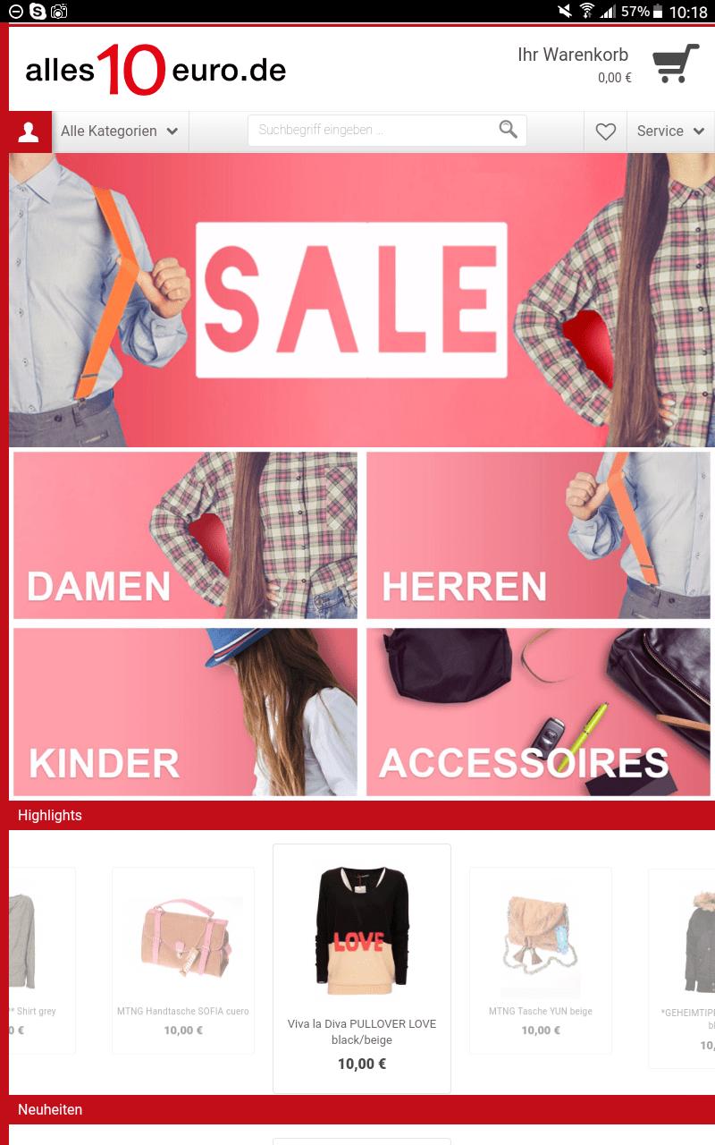 Shopping für 10 Euro auf kinderalltag.de